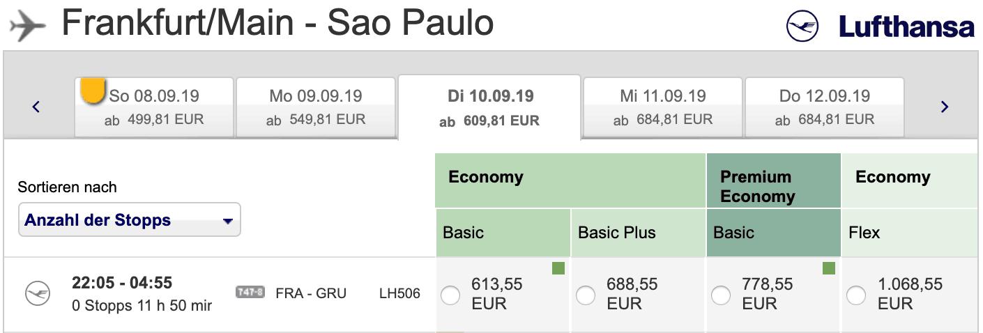 Lufthansa Economy Premium Preisvergleich