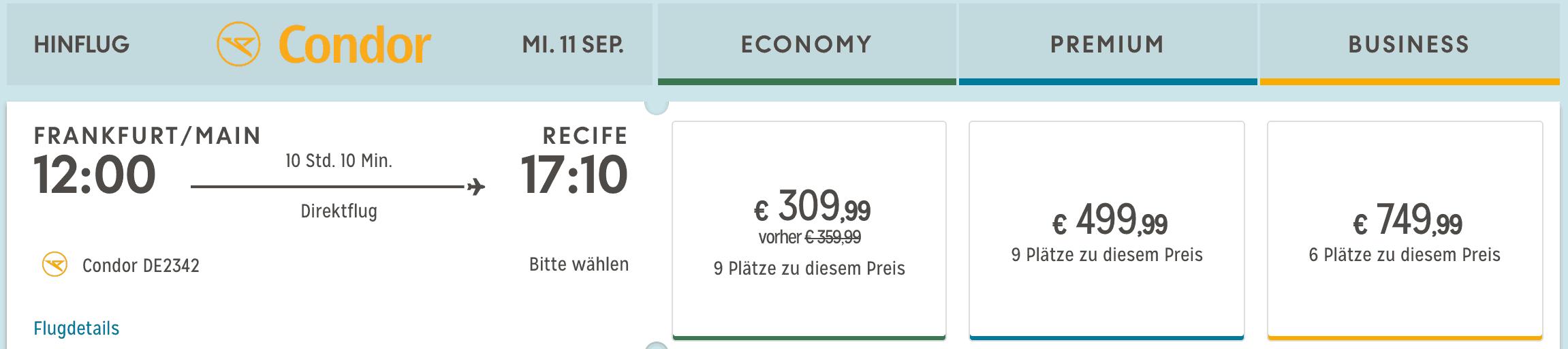 Condor Premium Economy Tarif Langstrecke